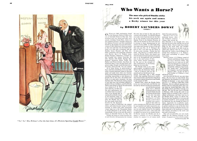 Who Wants a Horse? | Esquire | MAY 1936