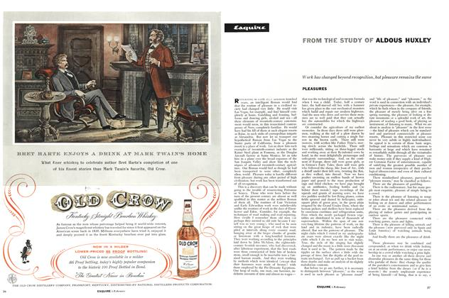 Article Preview: Pleasures, February 1957 | Esquire