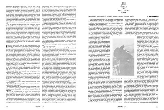 Article Preview: The Private World of Thelonious Monk, APRIL, 1960 1960 | Esquire