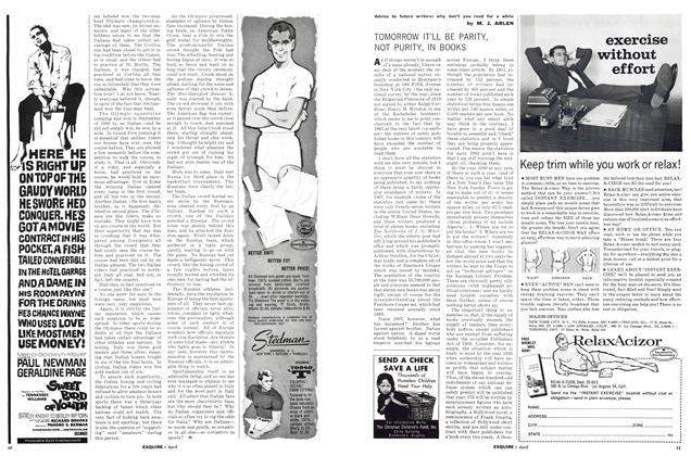 Article Preview: Tomorrow It'll Be Parity, Not Purity, in Books, APRIL, 1962 1962   Esquire