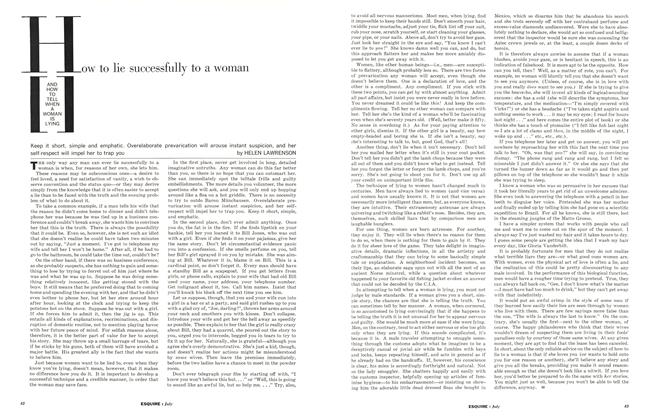 Article Preview: How to Lie Successfully to a Woman and How to Tell When a Woman Is Lying, July 1962 | Esquire