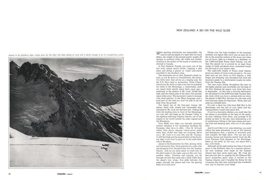 New Zealand: A Ski on the Wild Slide | Esquire | AUGUST, 1962
