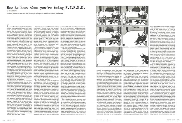Article Preview: How To Know When You're Being F.I.R.E.D., August 1965 | Esquire