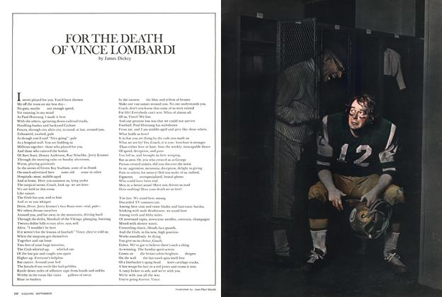Article Preview: For the Death of Vince Lombardi, SEPTEMBER 1971 1971 | Esquire