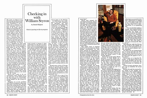 Article Preview: Checking in with William Styron, AUGUST 1972 1972 | Esquire