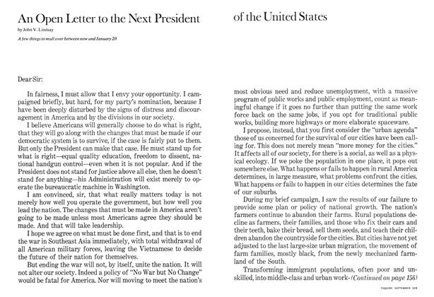 An Open Letter to the Next President of the United States