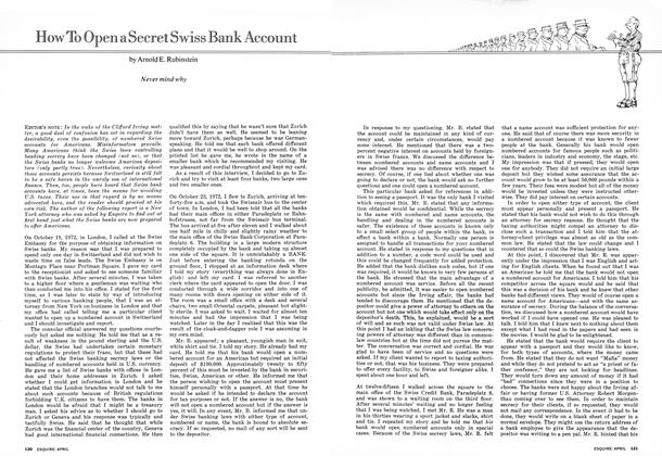 Article Preview: How to Open a Secret Swiss Bank Account, APRIL 1973 1973 | Esquire