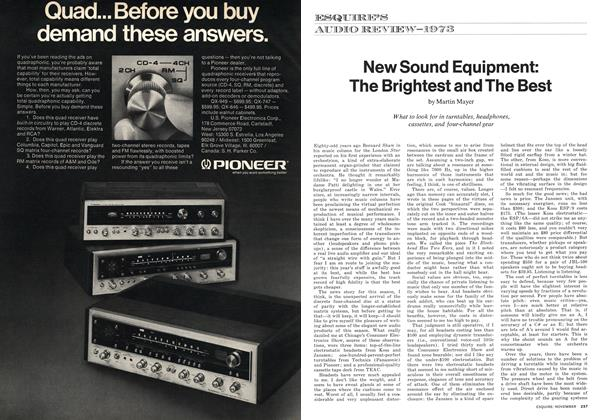 Article Preview: New Sound Equipment: The Brightest and the Best, NOVEMBER 1973 1973 | Esquire