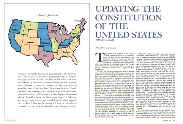 Article Preview: Updating the Constitution of the United States, May 1974 | Esquire