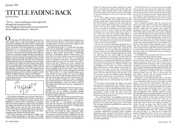Article Preview: Tittle Fading Back, October 1974 | Esquire