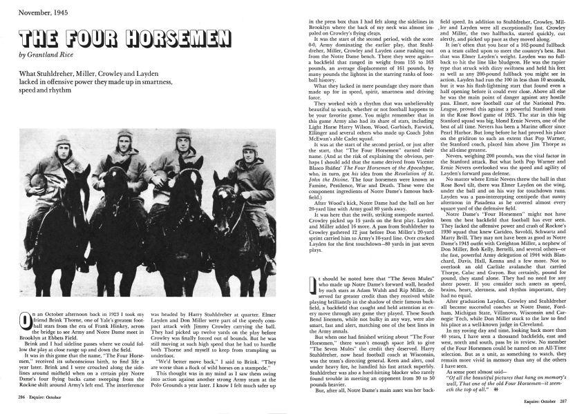 The Four Horsemen | Esquire | OCTOBER 1974