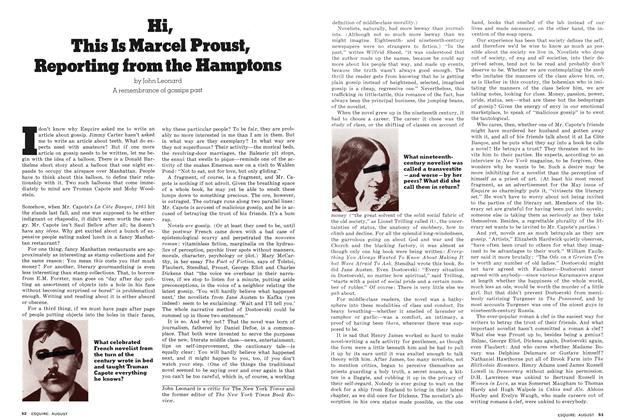 Article Preview: Hi, This Is Marcel Proust, Reporting from the Hamptons, AUGUST 1976 1976 | Esquire