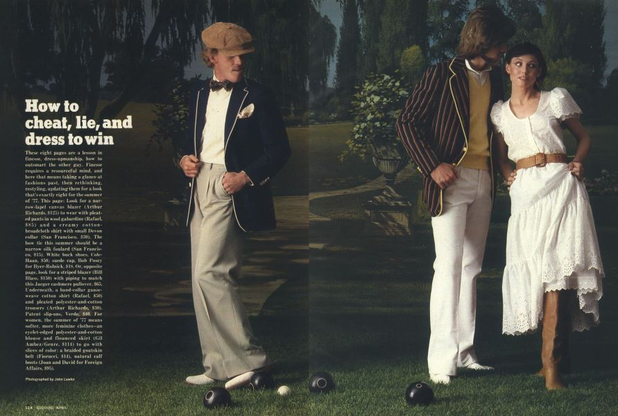 How to cheat, lie, and dress to win | Esquire | APRIL 1977