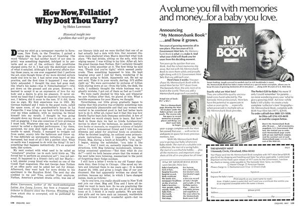 Article Preview: How Now, Fellatio! Why Dost Thou Tarry?, May 1977 | Esquire