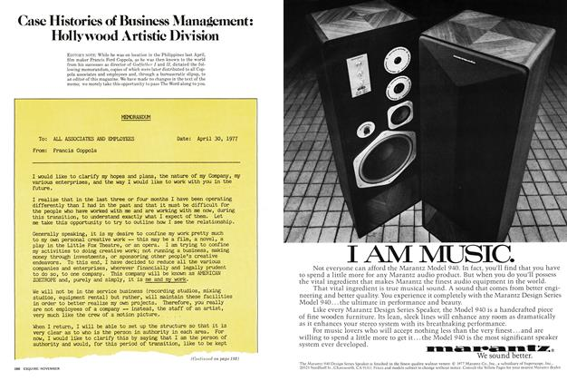 Article Preview: Case Histories of Business Management: Hollywood Artistic Division, November 1977   Esquire