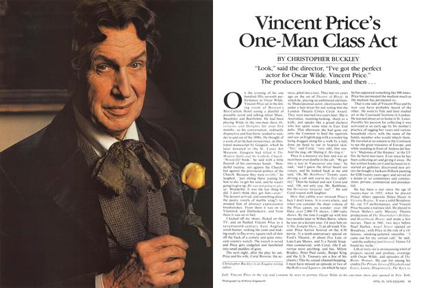 Article Preview: Vincent Price's One-Man Class Act, April 25,1978 1978 | Esquire