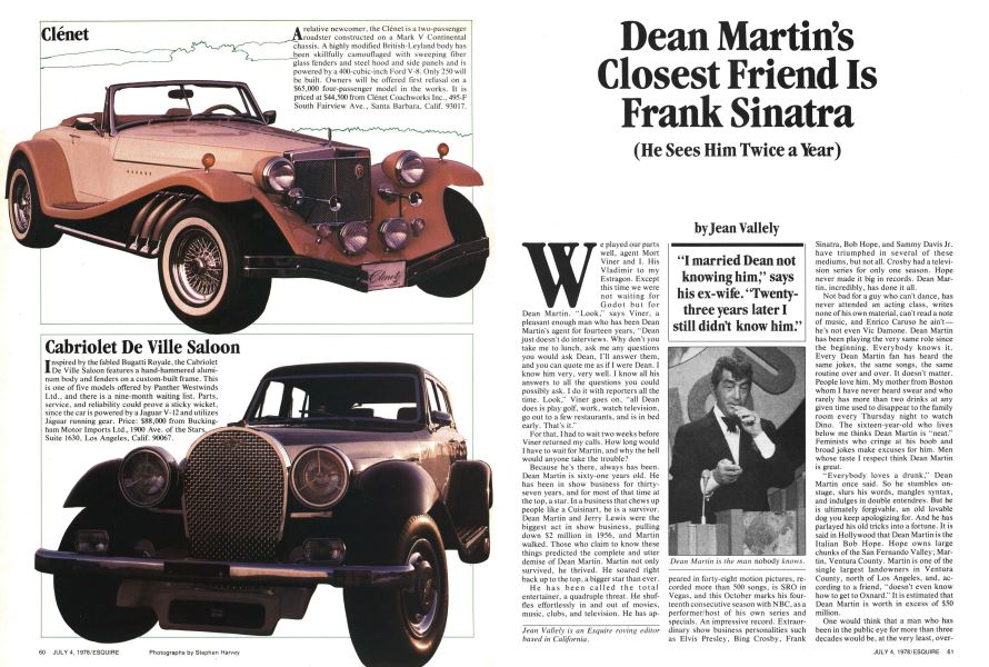 Dean Martin\'s Closest Friend Is Frank Sinatra | Esquire | July 4, 1978