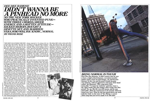 Article Preview: Dee Dee Ramone Didn't Wanna Be a Pinhead No More, April 1980 | Esquire
