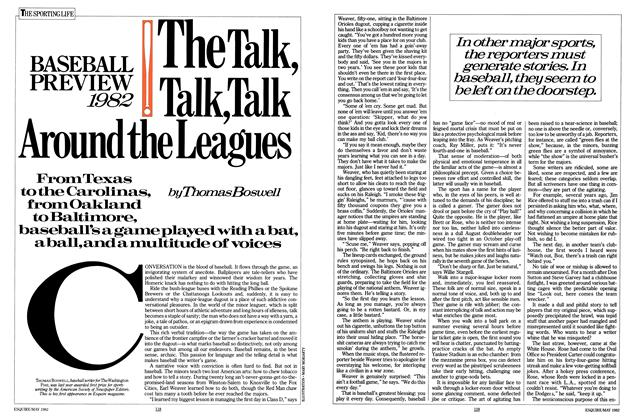 Article Preview: The Talk, Talk, Talk Around the Leagues, MAY 1982 1982 | Esquire