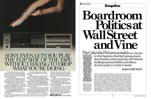 Article Preview: Boardroom Politics at Wall Street and Vine, SEPTEMBER 1982 1982 | Esquire