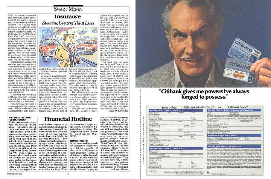 Financial Hotline | Esquire | JULY 1986