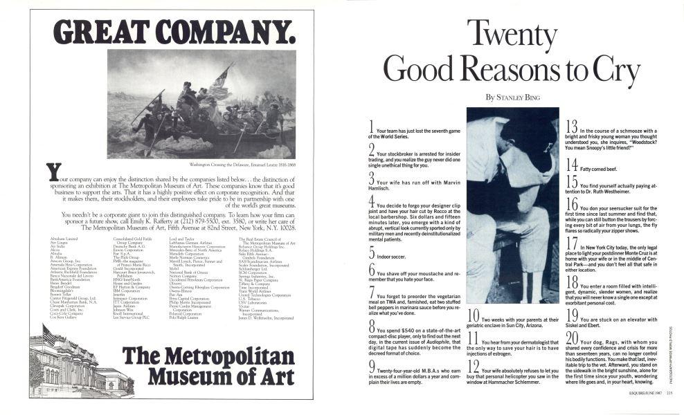 Twenty Good Reasons To Cry Esquire JUNE 1987