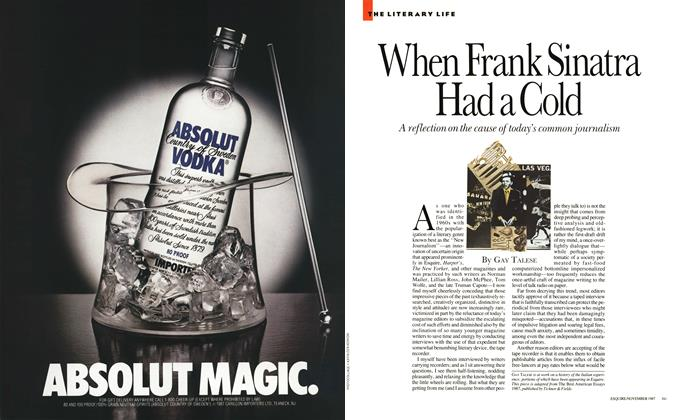 Article Preview: When Frank Sinatra Had a Cold, November 1987 | Esquire