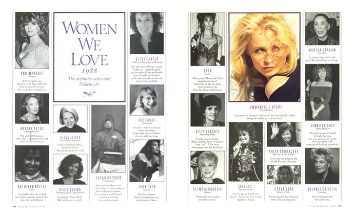 Article Preview: WOMEN WE LOVE 1988, AUGUST 1988 1988 | Esquire