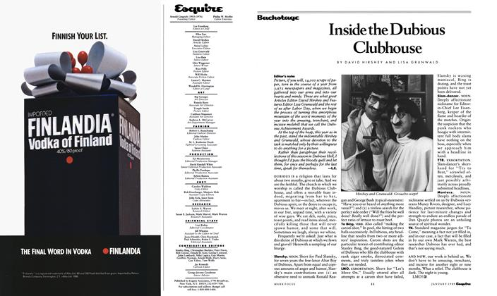 Article Preview: Inside the Dubious Clubhouse, January 1989 1989 | Esquire