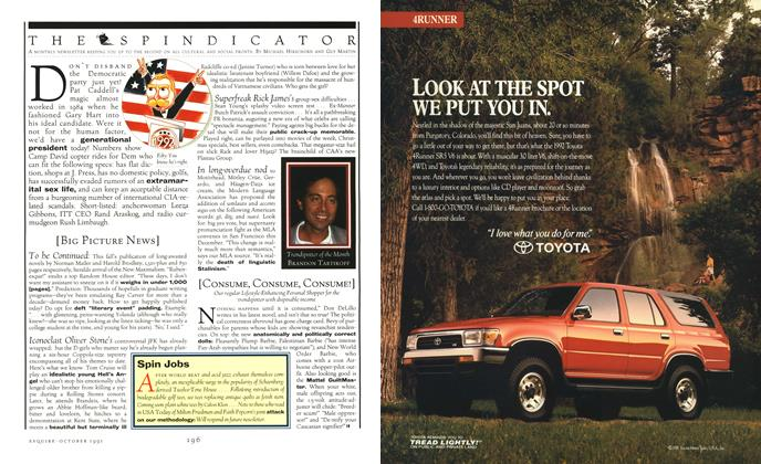 Article Preview: THE SPINDICATOR, OCTOBER 1991 1991 | Esquire