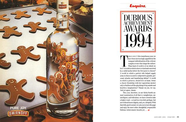 Article Preview: Dubious Achievement Awards of 1994, JANUARY 1995 1995 | Esquire
