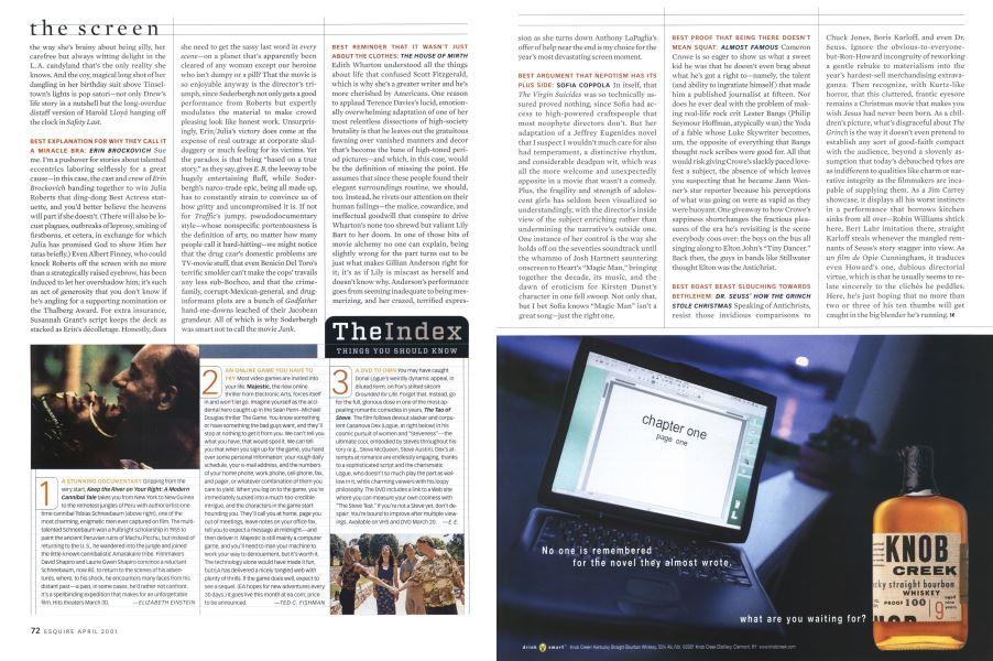 The Index | Esquire | APRIL 2001