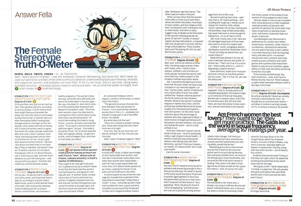 Article Preview: The Female Stereotype Truth-O-Meter, April 2003 | Esquire