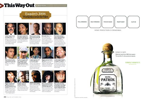 Article Preview: Esquire's 2006 World Records for Men, SEPTEMBER 2006 2006 | Esquire