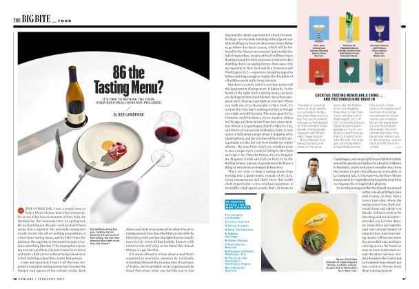 Article Preview: 86 the Tasting Menu?, FEBRUARY 2017 2017 | Esquire