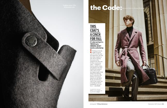 Article Preview: This Coat's a Cinch for Fall, SEPTEMBER '17 2017 | Esquire