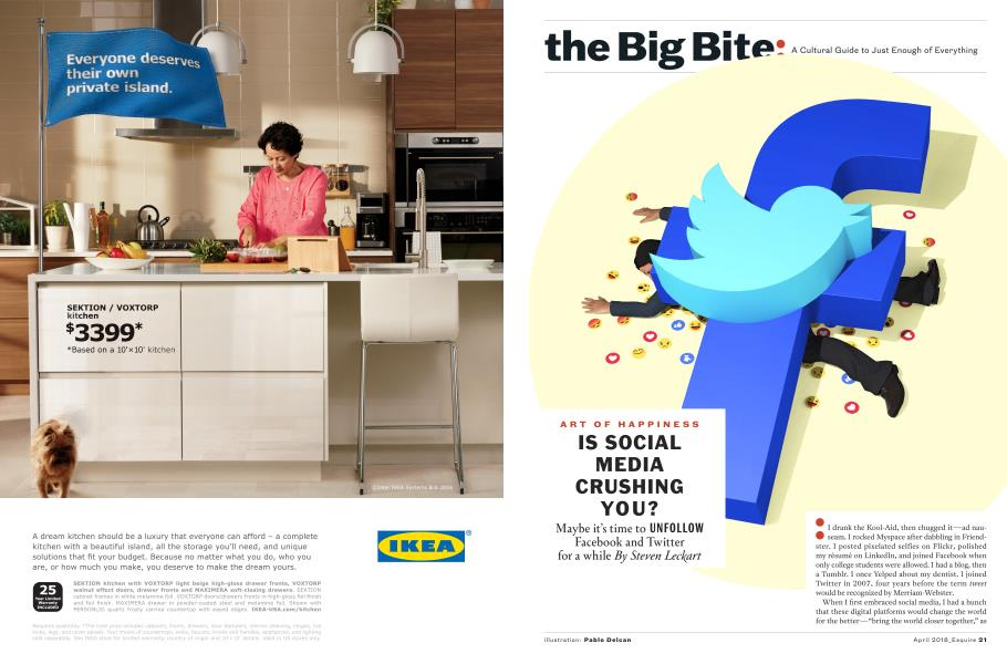 Is Social Media Crushing You?   Esquire   APRIL '18